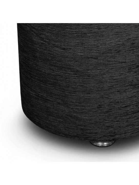 "Wooden Fabric Sitting Stool For Living Room (14""X 14""X 18"") Stainless Steel Legs - Black"