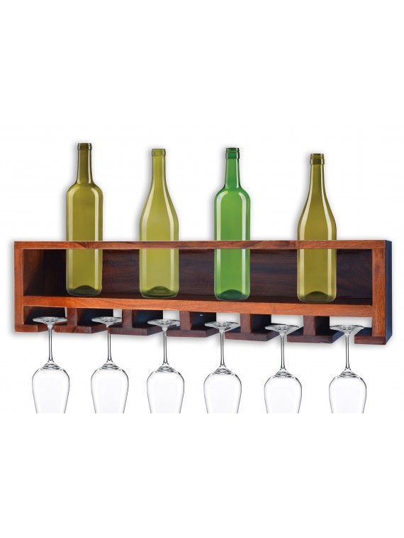 Wall Mounting Sheesham Wood Wine Rack - Honey Finish