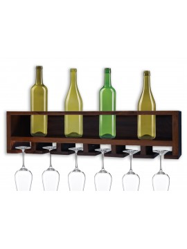 Wall Mounting Sheesham Wood Wine Rack - Walnut Finish