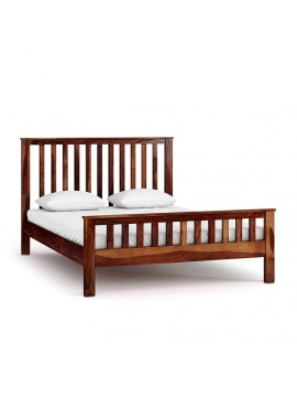 Sheesham Wood Queen Size Strip Design Non Storage Bed in Honey Finish