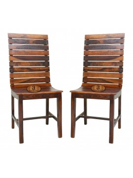Frazer Stripped Sheesham Wood dining chair (Set of 2) In Honey Finish