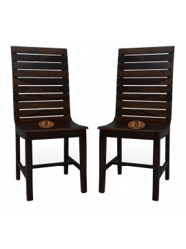 Frazer Stripped Sheesham Wood Dinning Chair (Set Of 2) In Walnut Finish