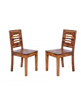 Angel's Kitchener Solid Sheesham Wood Dining Chairs Set of 2 In Honey Finish