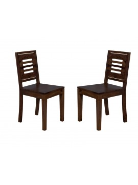 Angel's Kitchener Solid Sheesham Wood Dining Chairs Set of 2 In Walnut Finish