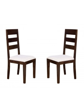 Angel's Waterloo Solid Sheesham Wood Dining Chairs Set of 2 In Walnut Finish