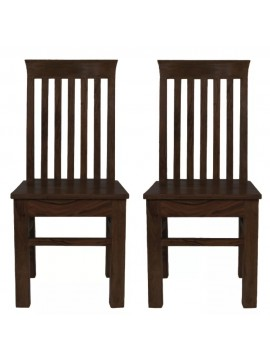 Angel's Vaughan Solid Sheesham Wood Dining Chairs Set of 2 In Walnut Finish