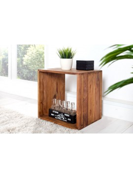Solid Sheesham Wood Cubic End Table (Honey)