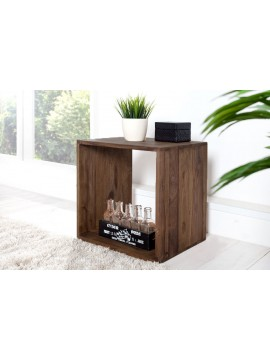 Solid Sheesham Wood Cubic End Table (Walnut)