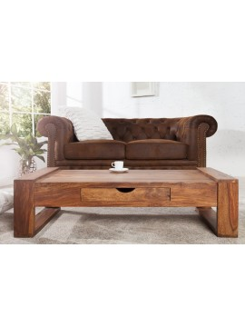 Riverton Solid Sheesham Wood Coffee table with drawer in Honey Finish