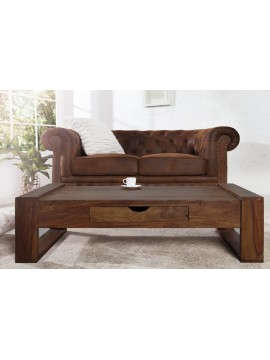 Riverton Solid Sheesham Wood Coffee table with drawer in Walnut Finish