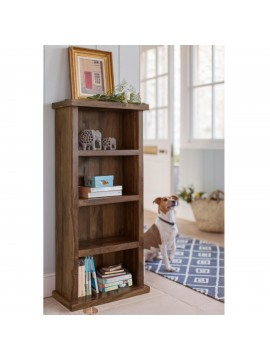 Space Saver Simply Designed Sheesham Wood Bookshelf (Walnut)
