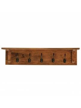 Solid Sheesham Wood floating Wall Mounted Shelf With Coat Hook (Honey Finish)