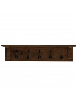 Solid Sheesham Wood floating Wall Mounted Shelf With Coat Hook (Walnut Finish)