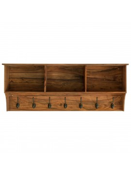 Sheesham Wood Wall Hanging Storage Shelf (Honey)