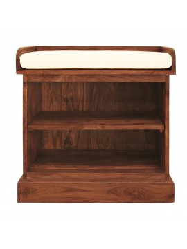 Solid Sheesham Wood Open Space saver Shoerack with removable shelf (Honey)