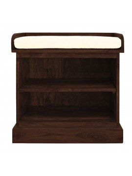 Solid Sheesham Wood Open Space saver Shoerack with removable shelf (Walnut)