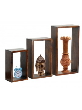 Sheesham Wood Wall Hanging Storage Shelf Set of 3) (Honey)