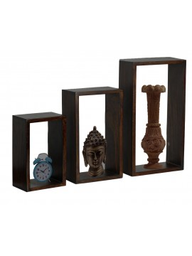 Sheesham Wood Wall Hanging Storage Shelf Set of 3) (Walnut)