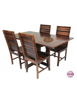 Modish Solid Sheesham Wood Four Seater Dining Table Set (Teak Finish) Folding Dining Table