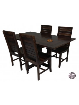 Modish Sheesham Wood Four Seater Dining Table Set (Walnut Finish)