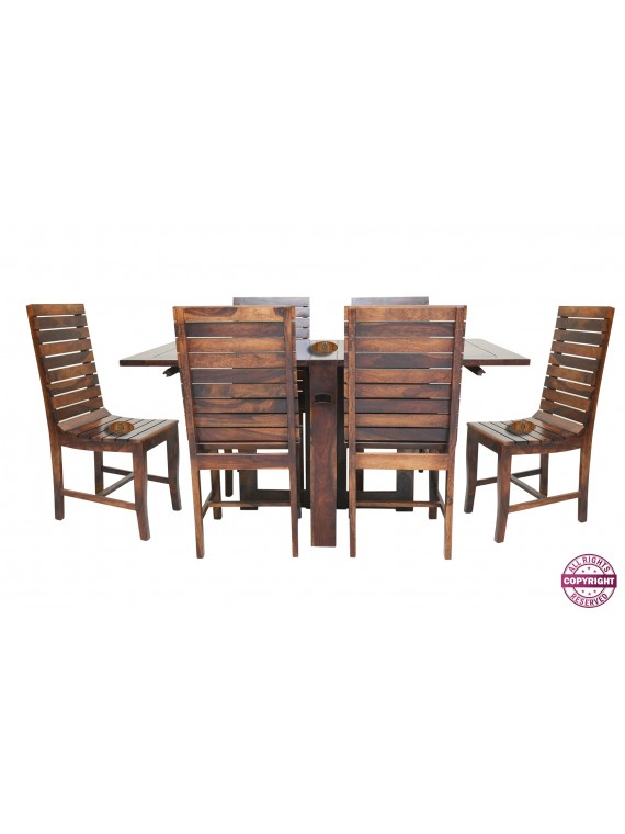 Modish Solid Sheesham Wood Six Seater Dining Table Set (Teak Finish)