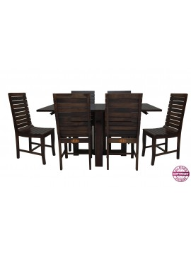 Modish Sheesham Wood Six Seater Dining Table Set (Walnut Finish)
