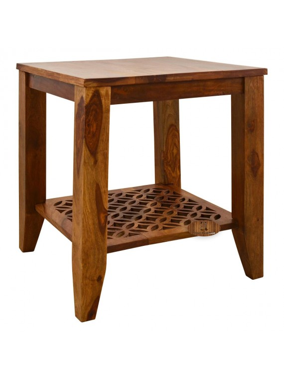 Clydebank Carved net Side Table in Honey Finish