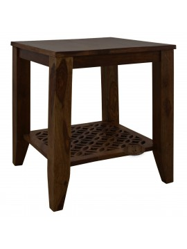 Clydebank Carved net Side Table in Walnut Finish