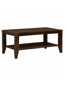 Kansas Carved net Coffee Table in Walnut Finish
