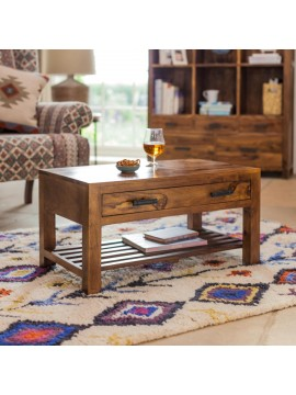 Briggs Coffee Table with Storage drawer in Honey Finish