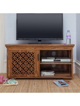Nibley carved net tv unit in honey finish