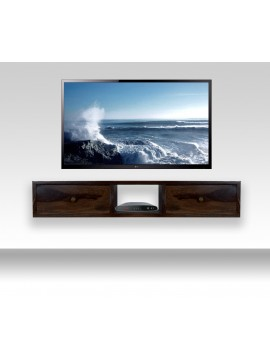 Lublin wallshelf | tv unit with two drawer in Walnut finish