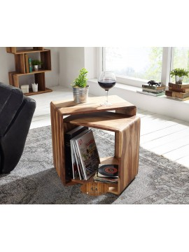 Hamilton Nested Cube - Side Table Honey Finish