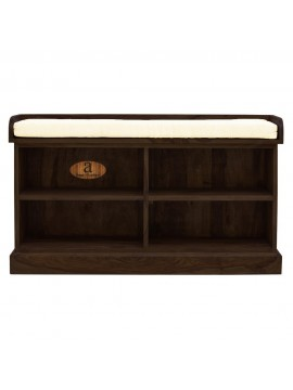 Hallway Shoerack Open Storage Seat in Walnut finish