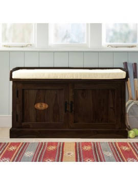 Hallway Shoerack Enclosed Storage Seat in Walnut Finish