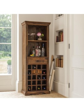 Tallboy Storage Wine rack | Bar Cabinet | Bar Unit in Honey Finish
