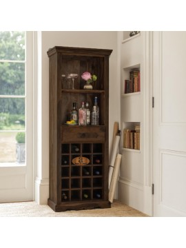Tallboy Storage Wine rack | Bar Cabinet | Bar Unit in Walnut Finish