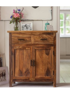 Lowboy storage cabinet with two drawer in honey finish