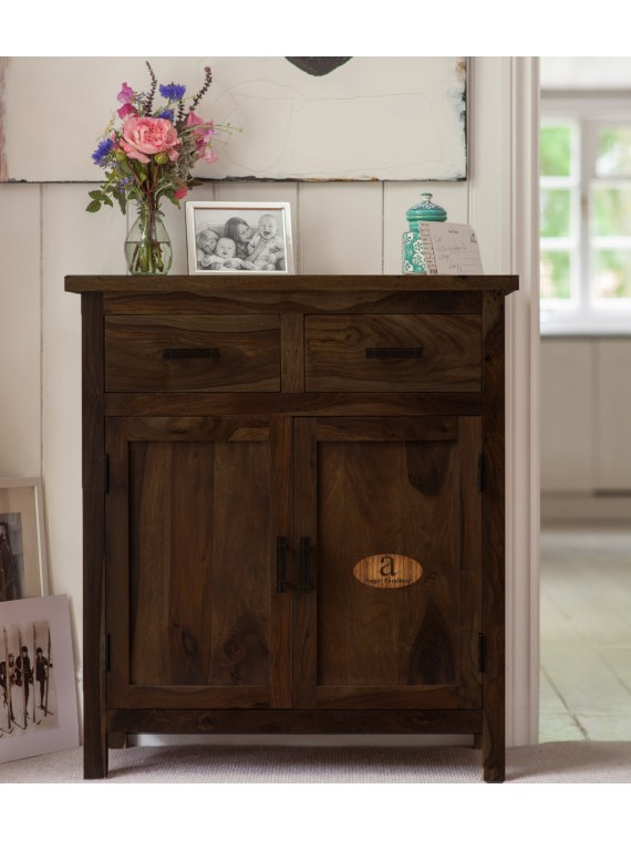 Lowboy Storage Cabinet With Two Drawer In Walnut Finish