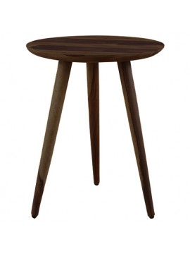 Solid Sheesham Wood Tripod End Table | Stool | Side Table | Corner Table | Sofa Side Table (Walnut)