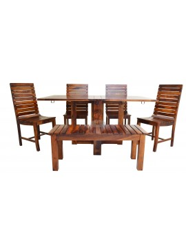 Stripped Design Six Seater Dining Set With Foldable Dining Table In Honey Finish
