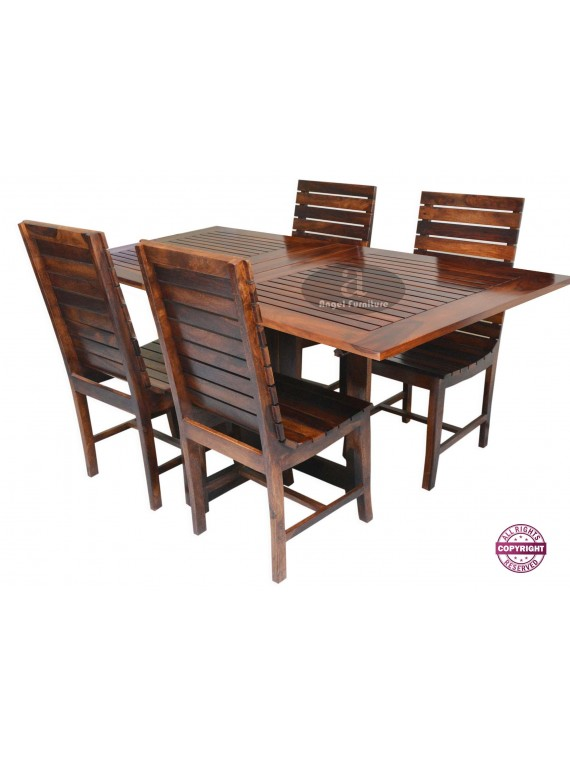 Stripped Design Four Seater Dining Set With Foldable Dining Table in Honey Finish