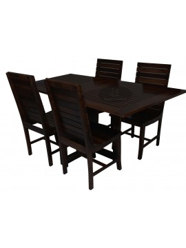 Stripped Design Four Seater Dining Set With Foldable Dining Table in Walnut Finish