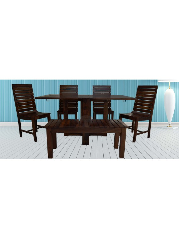 Stripped Design Six Seater Dining Set With Foldable Dining Table In Walnut Finish