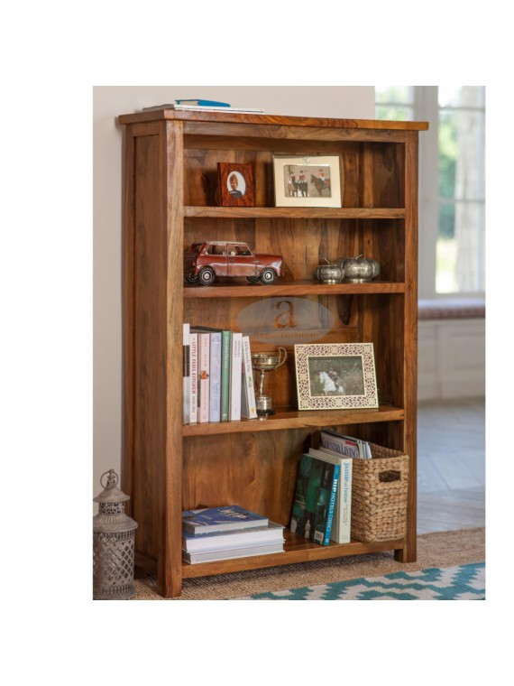 Antonio Solid Sheesham Wood large bookshelf in Honey Finish