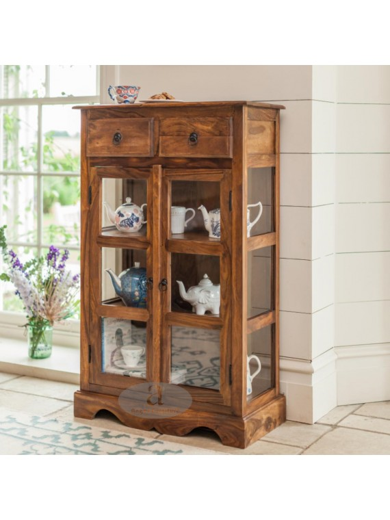 Solid Sheesham Kitchen Crockery Cabinet in honey finish