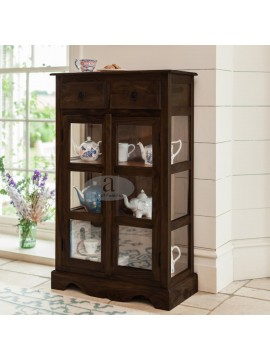 Solid Sheesham Kitchen Crockery Cabinet in walnut finish