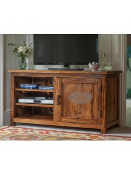 Columbus Wide Screen Tv unit with cabinet in honey finish