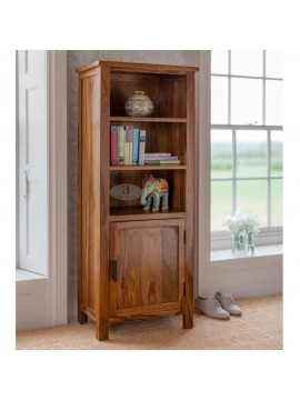 Tallboy Solid Sheesham Wood Bookshelf in Honey Finish