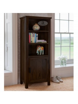 Tallboy Solid Sheesham Wood Bookshelf in Walnut Finish